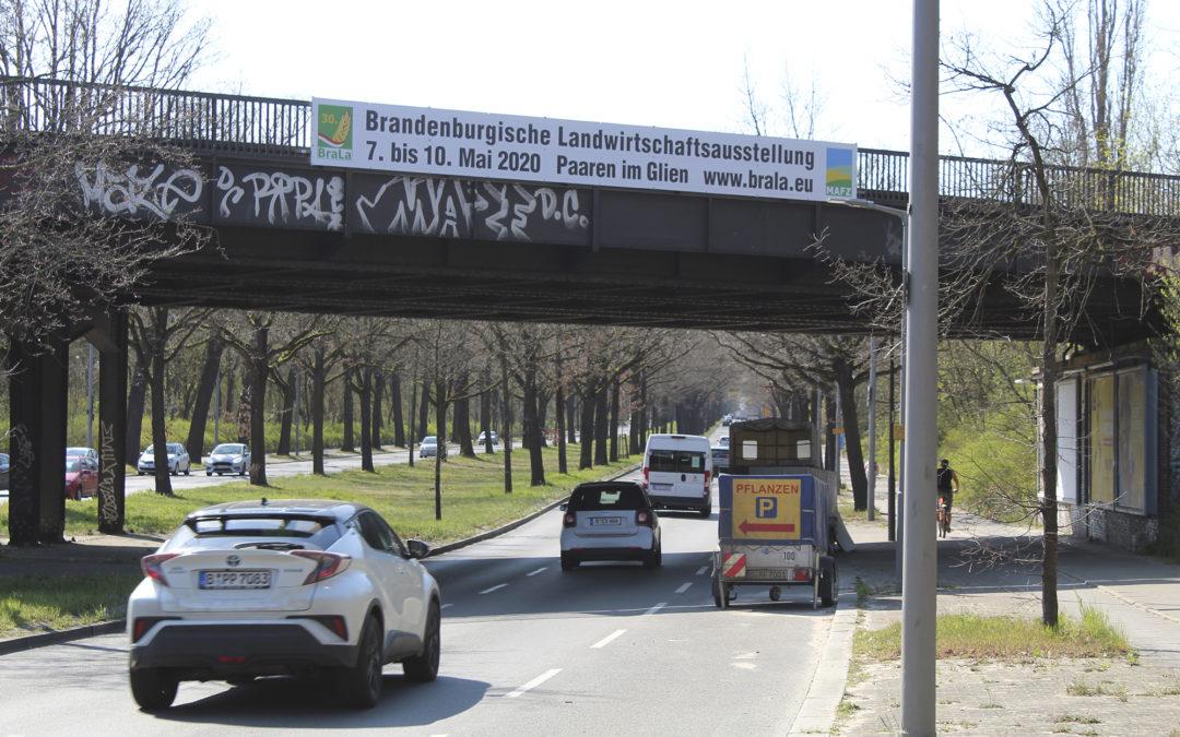 Brückenwerbung und Vitrinenposter für lokale Veranstaltungen